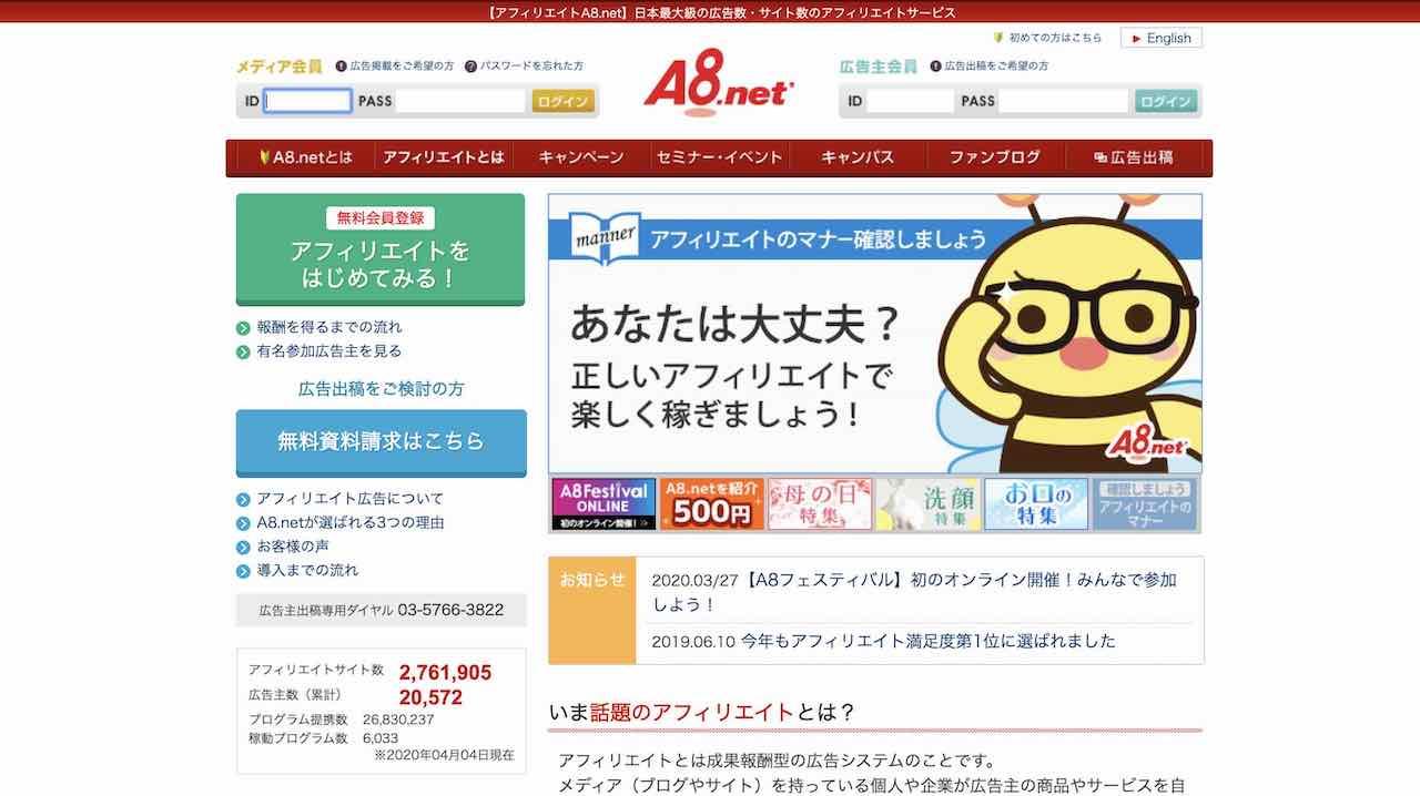 福岡で副業を始めるサイト|A8.net